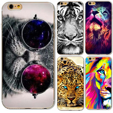 Napeyin Cute Glasses Cat Tiger Skull lion leopard Case Cover For iphone 5 5s SE 6 6S Soft Silicone Phone Cases Bag Cover Fundas