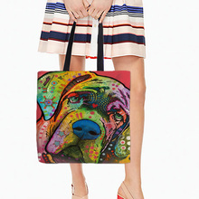 Storage Shopping Tote Bags Colorful Mastiff Pitbull Pet Dog Print Two Sides Printing Single Shoulder Bags White Canvas