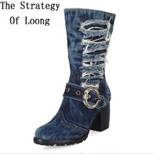 women Vintage denim thick high heels short boots 2017 new fashion autumn winter retro jean Knight Combat Martin boots SXQ0602(China)