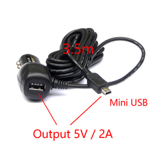 Dual USB 5V 2A Car Charger Adapter Cigarette Lighter For Car DVR Vehicle Charging with 3.5 meters Cable Mini / Micro USB Port