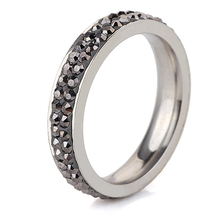 Free Shipping Wholesale Fashion Stainless Steel Ring Double Jet Hematite Lines(thin) Crystal Jewelry(China)