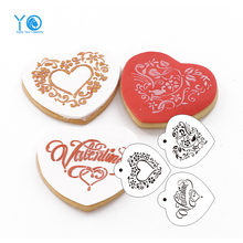 3pcs/lot Love Pattern Design Stencils Cookie Stencil Fabrics Sugar Sieve Tubesheet Cookie Moldes Fondant Tools Cake Decoration