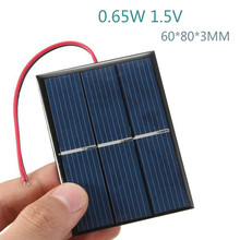 2Pcs Solar Panels DIY Flexible Solar Panel Energy Epoxy Plate With Wires 0.65W 1.5V 60x80x3MM Panneau Solaire