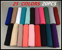 20pcs  High quality jersey scarf cotton plain elasticity shawls maxi hijab long muslim head wrap long scarves/scarf