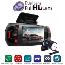"Range Tour dual camera Car DVR Dashboard Camera Support Rear Camera Full HD 1080P 2.7""LCD 170 Degree Video Recorder Dash Cam(China)"