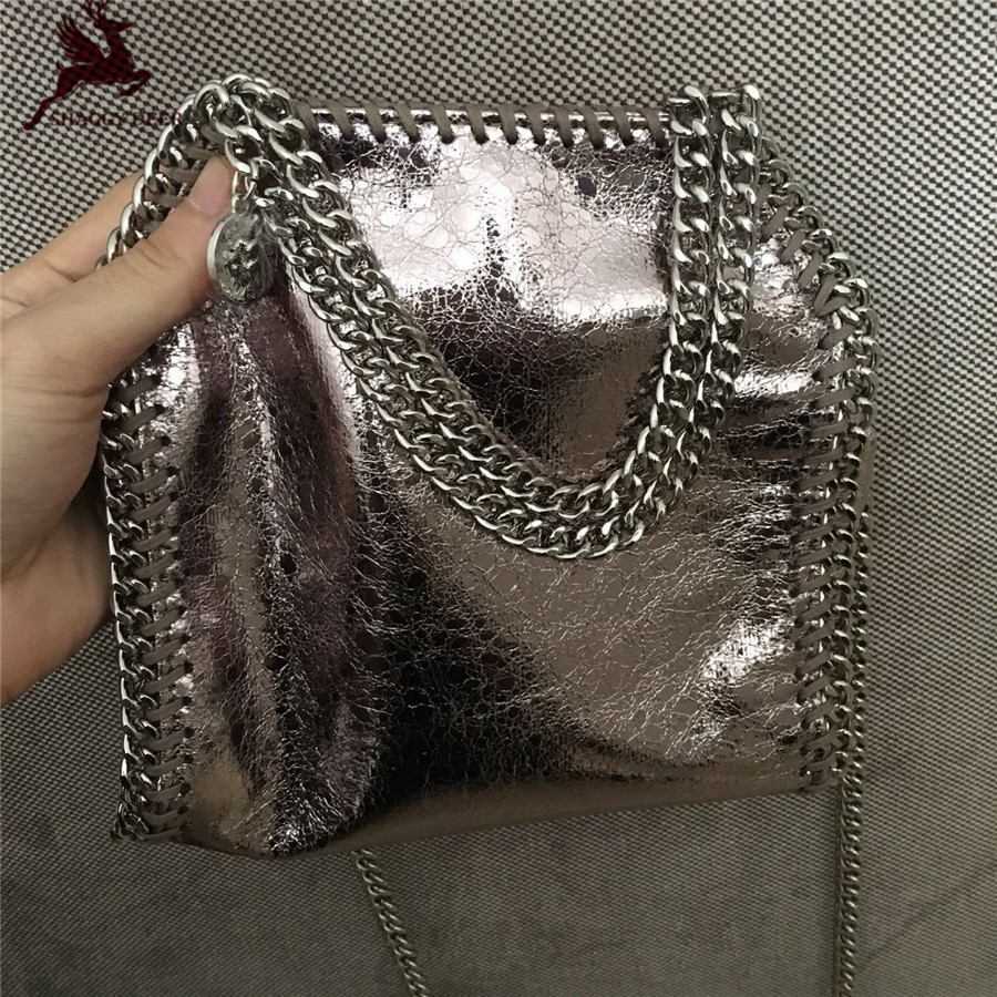 Exclusive Crack Champagne Gold Shaggy Deer Brand PVC Faux Leather Mini 18cm Crossbody falabella Chain Bag<br>