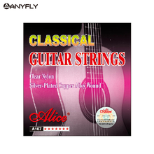 Original Alice A107 1st-6th 1 Set Classical Guitar Strings Clear Nylon Core Silver Plated Copper Alloy Wound Normal Tension