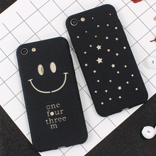 Hollow Nice Smile Face Star Phone Case for iphone 7 6 6 Plus Scrub Soft TPU Cover For iphone 6 6s 7 Plus Back Skin Fundas Shell