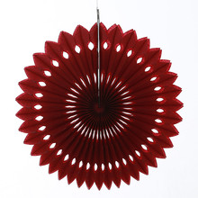 15pcs/lot 10inch=25cm Paper Pinwheel Decorations Burgundy Hanging Foldable Eyelet Fan Wedding Party Background Decors