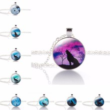 TOMTOSH 2017 Hot Fashion Wolf Moon Pendant Necklace Glass Silver Statement Chain Necklace Women Jewelry Glass Necklace