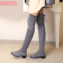 women stretch Faux Suede slim over the knee boots sexy pointed toe low-heel lace-up thigh high boots woman Black Gray long boots