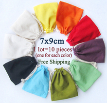 (10 pcs/lot)Thick Linen Cotton Drawstring Bag Thick Cotton Pouch Jewelry/Product packaging bags Christmas/Wedding Gift Bags7x9cm