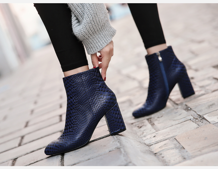 Donna-in 2017 new style ankle boots sexy snake leather women boots retro square toe thick high heel autumn boots 15325-19 (1-6)
