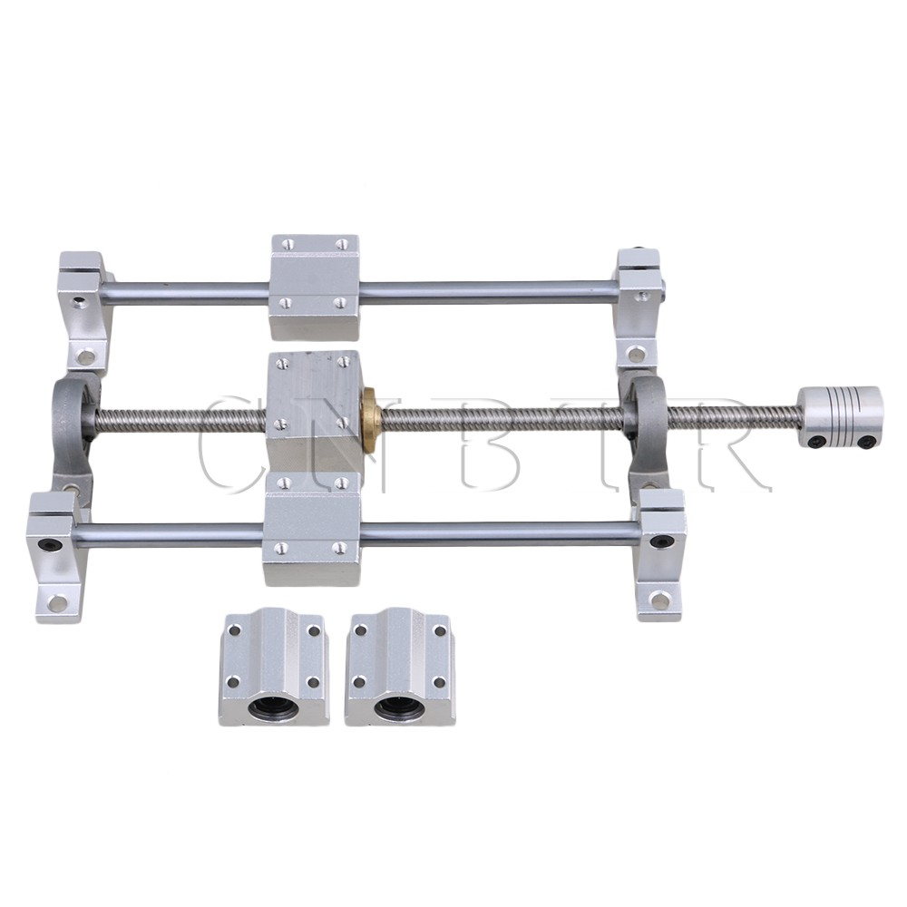 CNBTR T8 Horizontal Dual Rails 200mm Optical Axis &amp; 250mm 8mm Lead Screw Set <br>