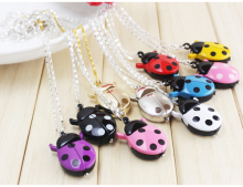 free shipping 1pcs 9colors Fashion Ladybug Beetle Quartz Lady Ladies Girls Pocket Necklace Watch Xmas gift with key chain