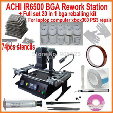 Original ACHI IR6500 BGA rework station with full set bga reballing kit 74pcs bga stencils for laptop xbox360 ps3 WII repair(China)