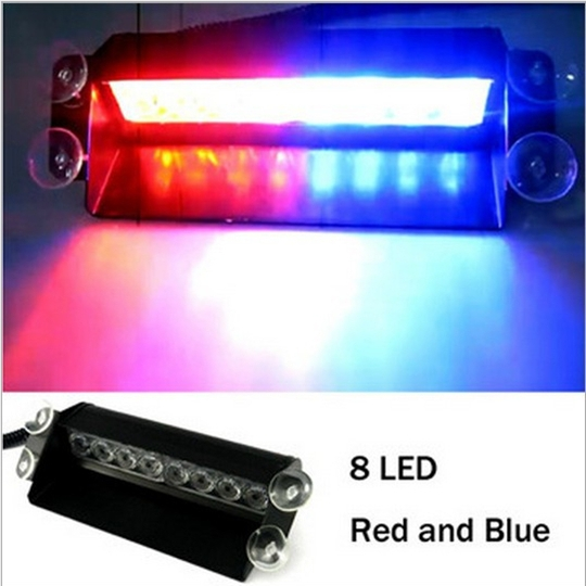 8W 8-LED Red and Blue Light LED Flash Lamp for Car (12V) / Warning light/ strobe light<br><br>Aliexpress