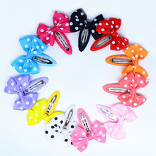 Free Shipp10 Pcs/lot Solid/ Dot/Stripe/ Star Print Colored Bow BB Clips Girls' Cloth Wrapped Hairpins Kids Hair accessories