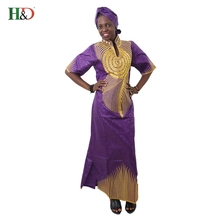 (free shipping)New fashion Bazin brought African cotton headscarf sleeve embroidery dress robes S2375(China)