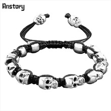 Smile Skull Skeleton Bead Bracelets Strand Vintage Boho Antique Silver Plated Handmade Rope Woven Craft Fashion Jewelry(China)