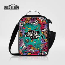 Dispalang Thermal Insulated Lunch Bag For Women Lancheira Thermo Lunch Bags Personalized Musical Note Printing Picnic Cooler Bag