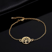 SMJEL 2017  New Fashion Tiny Gold  Color Tree of Life Bracelet for Women Personalized Bracelets&Bangles Birthday Gifts B037