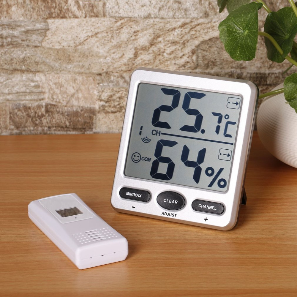 Indoor Outdoor Mini Max Dispaly Weather Station 8-channel Wireless Thermo-Hygrometer With Jumbo Display 3 Remote Sensor Digital<br>