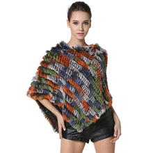 Classic Womens Knitted Rabbit Fur Shawls Lady Fashion Real Striped Fur Ponchoes Casual Close-woven Pashmina One Size LX00100(China)