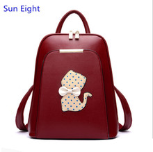 Sun Eight red bag PU leather female backpack cute bowknot polka dot children bags for girls women leather backpack travel bags