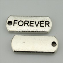 Free Shipping 40Pcs Antique Silver Word Forever Charms Pendants for Jewelry Making charm Handmade DIY 21*8mm