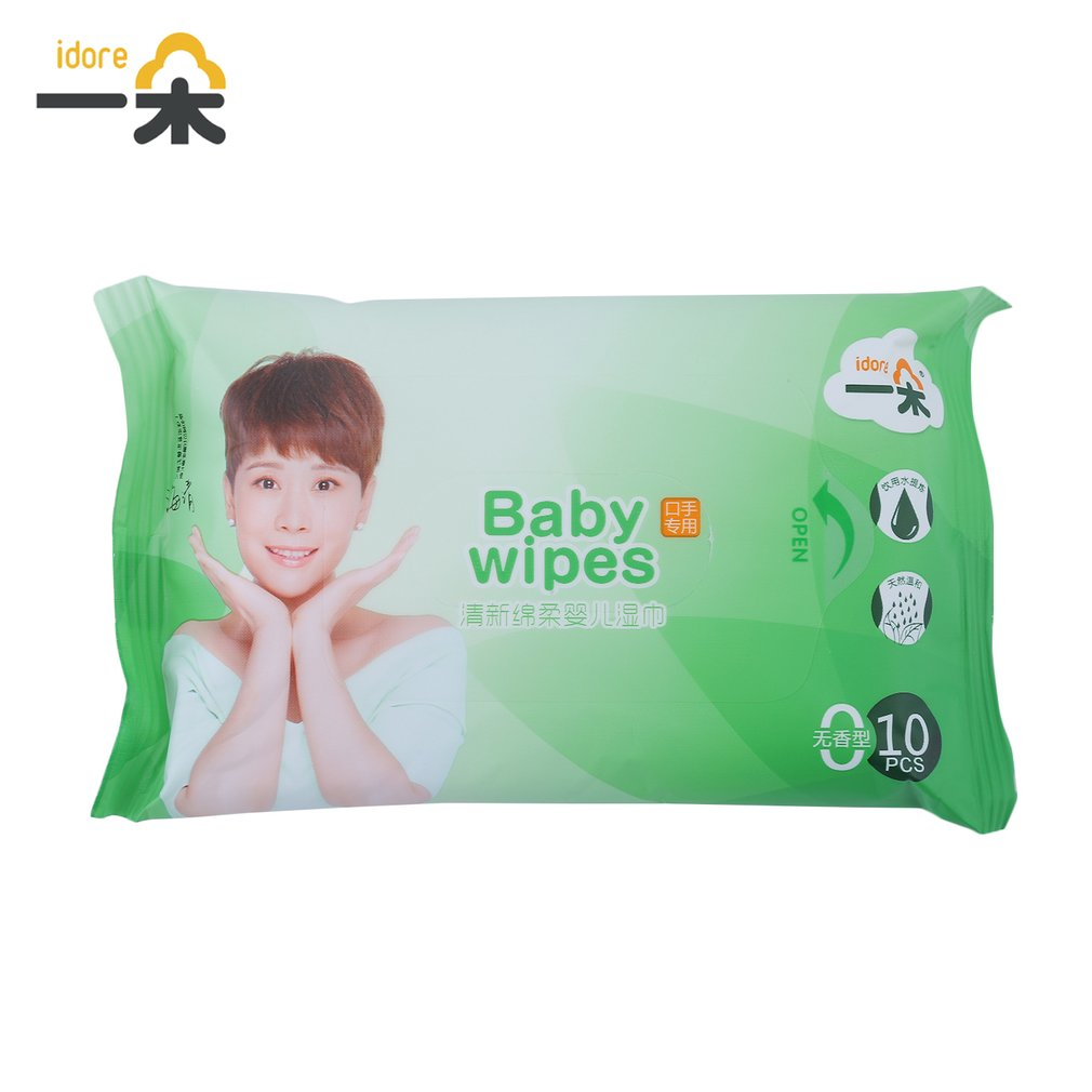 100pcs/10 Pack Idore Newborn Baby Wet Wipes Fresh Soft Moist Toddler Infant Disposable Portable Tissue Skin Clean Care Wet Wipes 6