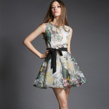 Free Shipping 2015The New Europe and the United States Fashion Wind Printing With Sleeveless  Silk Dress