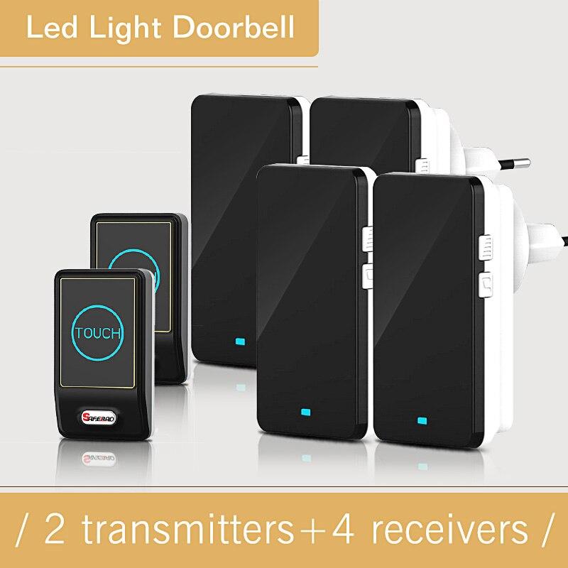 Touch Sensor EU/US/UK Plug-in Waterproof Wireless Battery Doorbell Remote Control MP3 Electric Doorbells 2 Button + 4 Receivers <br>