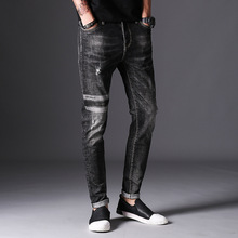 2017 Autumn New Jeans Men Hole Ripped Slim Fit Denim Trousers Biker Jeans Skinny Brand Clothing High Quality print plaid(China)
