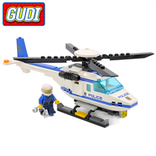 GUDI City Police Helicopter Blocks 111pcs Bricks Building Block Sets Educational Toys For Children(China)