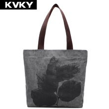 KVKY Vintage Large Casual Tote Designer Beach Bag Canvas Bucket Handbag National Style Leaves Painting Shoulder bag Shopping Bag