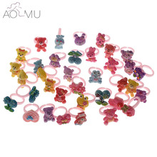 AOMU 10pcs/lot Children Kids Girls Cartoon Animal Bear Rings Lovely child Resin Adjustable Princess Party jewelry Gift
