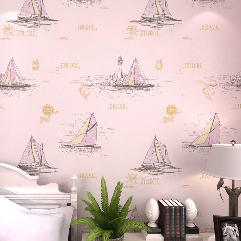 New Mediterranean Blue Kid Room Wall paper TV backdrop Bunny Girl Cartoon Bedroom Nonwoven Sailing Ship England Sea Wallpapers<br>