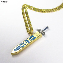 hzew Golden sky sword with sheath Necklace Legend of Zelda Removable Master Sword Pendant Necklace