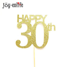 JOY-ENLIFE 1pcs Shiny Gold Happy 30th Cake Topper Flags For Married 30th Anniversary 30st Birthday Party Cake Decor Supplies