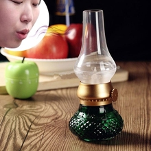 LED Candle Bedside Desk Night Light Rechargeable Kerosene Lamp Vintage USB Dimmable Electronic Blow for Reading Camping Green