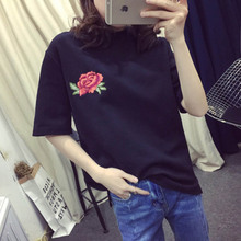 2017 women's T-shirts Fashion top Summer female T-shirt Rose Embroidered t shirt Vintage t-shirt Short Sleeve Tops