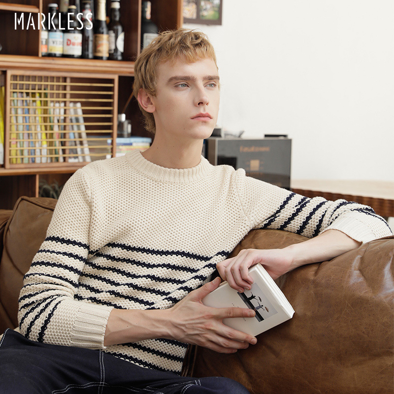 Markless Knitted Sweaters Men 2018 Autumn Winter New Pullover Men Sweater sueter hombre Fashion Striped pull homme MSA8705M