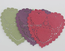 Christmas lace Paper Doilies heart shape holiday deocrative Hollowed Placemats 200pcs/lot(China)
