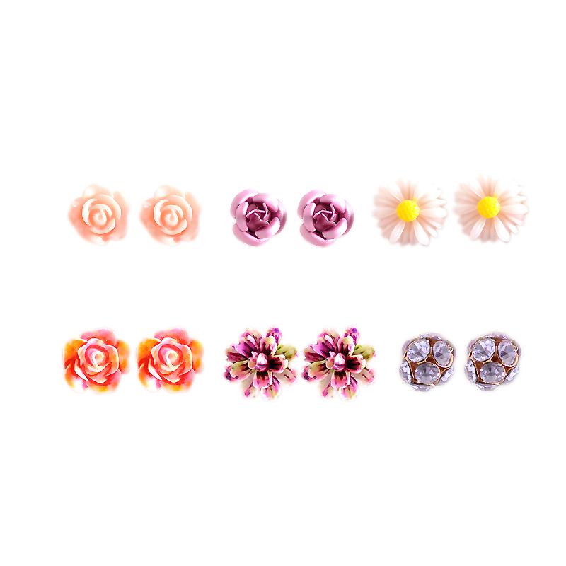 Hot new fashion women jewelry, girls birthday party flower shaped stud earrings, beautiful powder, purple yellow green Earrings 27