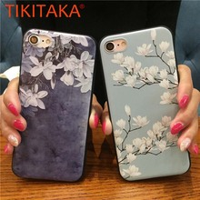 Buy Retro 3D Relief Magnolia Flower Phone Cases iphone X 8 7 6 6s Plus Case Fashion Floral leaves Soft TPU Back Cover Shell Capa for $1.40 in AliExpress store