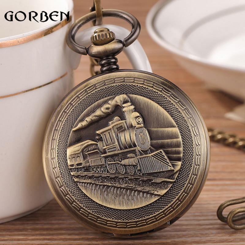 Retro Bronze Train Steampunk Mechanical pocket watch Pendent Chain Classic Hand-wind Vintage Pocket fob Watch Men Gifts<br><br>Aliexpress