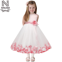 New Arrival Flower Princess Girl Dress Baptsim Rose Party Wedding Birthday kids tutu dress for girls dresses clothes Summer 2017