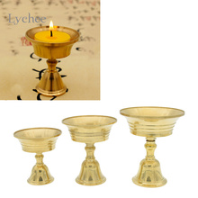 Lychee 1pc Copper Candle Holder Ghee Lamp Holder Brass Oil Lamp Buddhist Supplies Metal Craft Home Decor(China)