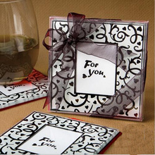 2piece/set Environmentally Square Frame Glass Cup Mat Wedding Cup Coaster Cup Cushion Holder Drink Placemat Pads Coffee Pad(China)